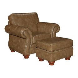 Broyhill - Tahoe Leather Chair and Ottoman - BRH5413 - Tahoe Collection Chair and Ottoman