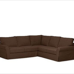 """PB Comfort Roll-Arm 3-Piece L Shaped Sectional Slipcovers, Brushed Canvas Espres - Designed exclusively for our PB Comfort Sectional, these soft, inviting slipcovers retain their smooth fit and remove easily for cleaning. Left 3-Piece Sectional with Box Cushions shown. Select """"Living Room"""" in our {{link path='http://potterybarn.icovia.com/icovia.aspx' class='popup' width='900' height='700'}}Room Planner{{/link}} to select a configuration that's ideal for your space. This item can also be customized with your choice of over {{link path='pages/popups/fab_leather_popup.html' class='popup' width='720' height='800'}}80 custom fabrics and colors{{/link}}. For details and pricing on custom fabrics, please call us at 1.800.840.3658 or click Live Help. All slipcover fabrics are hand selected for softness, quality and durability. Left-arm configuration is shown; also available in right-arm configuration. {{link path='pages/popups/sectionalsheet.html' class='popup' width='720' height='800'}}Left-arm or right-arm configuration{{/link}} is determined by the location of the arm on the love seat as you face the piece. This is a special-order item and ships directly from the manufacturer. To see fabrics available for Quick Ship and to view our order and return policy, click on the Shipping Info tab above. Watch a video about our exclusive {{link path='/stylehouse/videos/videos/pbq_v36_rel.html?cm_sp=Video_PIP-_-PBQUALITY-_-SUTTER_STREET' class='popup' width='950' height='300'}}North Carolina Furniture Workshop{{/link}}."""