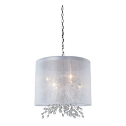Artcraft Lighting - Artcraft Lighting AC1926CH Chrome 6 Light ChandelierSherwood Collection - Beautiful organza shades, with organically shapes branches that have glass jewels as buds at the tips.