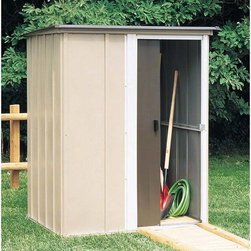 Arrow Shed - Arrow Shed Brentwood 5 x 4 ft. Shed - BW54 - Shop for Sheds and Storage from Hayneedle.com! The difficult part about cleaning your yard is that there's no closet where you can cram everything unless of course you have an Arrow Shed Brentwood 5 x 4 ft. Shed. Whether you're tidying up lawn implements athletic equipment or holiday decorations this shed provides you the perfect place to quickly stow all those outside necessities that aren't always necessary to have outside. The handsome look of the coffee taupe and eggshell combination also adds a natural-looking appearance that compliments any exterior design or landscaping. The slightly sloped roof avoids rainwater pooling up top or dripping down your back while you're retrieving items or putting them away. And the single sliding door makes accessing your storage quick and easy. Made in the United States this shed is constructed with electro-galvanized steel making it affordable durable and attractive. With numbered and predrilled parts this shed can be assembled quickly and easily as a weekend project with basic DIY skills.Additional Features:Exterior Dimensions: 59.5W x 48D x 70.75H inchesInterior Dimensions: 54.25W x 43.13D x 69.5H inchesDoor Dimensions: 22.25W x 65H inchesAbout Arrow Storage ProductsEstablished in 1962 as Arrow Group Industries Arrow Storage Products is now the worldwide leader in designing manufacturing and distributing steel storage sheds that are easily assembled from a kit. Arrow Storage Products hasn't garnered its 13 million customers by resting on its laurels either. The company takes great pride in having listened to their customers over the years to develop quality products that meet people's storage needs. From athletic equipment to holiday decorations from tools to recreational vehicles Arrow Storage Products prides itself on providing quality USA-built structures that offer storage solutions. Available in a wide variety of sizes models finishes and colors - Arrow's products are constructed with electro-galvanized steel to be more affordable durable attractive and easy to assemble.