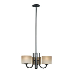 Kenroy Home - Kenroy 80330ORB Matrielle 3 Light Chandelier - Ideal for contemporary or casual decors, this versatile fixture can be hung as an up or down light.  Removing extension poles will allow it to mount close to the ceiling.  Ribbed glass completes this clean look.