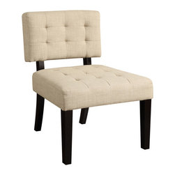 AC Pacific - Janette Toast Accent Chair - This comfortable upholstered accent chair will improve any room you add it to. Its cappuccino-stained hardwood legs are strong, while the large foam cushion provides a well-supported seat and back rest for supreme relaxation after a long day.
