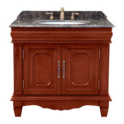"Bosconi - 36"" Bosconi T-3602 Single Vanity - A dark Emperador marble countertop and backsplash is the featured player on this single-sink vanity. An antique yellow finish over a solid wood frame is complemented by hardware in an antique brass, while two cabinet doors open to reveal ample storage space, perfect for storing folded towels or oversized toiletries."