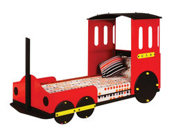 """ACMACM37195T - Tobi Collection Red Finish Wood Children's Train Set Twin Bed Frame Set - Tobi collection red finish wood children's train set twin bed frame set. This set includes the headboard, footboard and rails. Measures 50""""H at the top of the headboard. Some assembly required."""