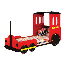 "Acme - Tobi Collection Red Finish Wood Children's Train Set Twin Bed Frame Set - Tobi collection red finish wood children's train set twin bed frame set. This set includes the headboard, footboard and rails. Measures 50""H at the top of the headboard. Some assembly required."