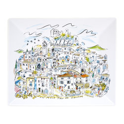 Working Class Studio - Un Petit Tour De Lacoste - Ceramic Platter - You needn't serve French fare on this charming platter, although it does depict the picturesque mountain village of Lacoste, above the Cote d'Azur. Let it add a playful vibe to your next casual soiree.