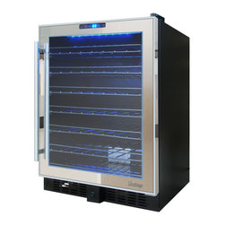 Vinotemp - 54-Bottle Touch Screen Mirrored Wine Cooler - Store your wine at the perfect temperature with the 54-Bottle Touch Screen Mirrored Wine Cooler by Vinotemp. Featuring dual-Pane glass doors with mirrored trim and a sleek pole handle, this unique wine cooler is sure to reflect your excellent taste! Sturdy black wire racking cradles approximately 54 of your favorite bottles of wine. A digital touch screen control panel conveniently located at the top of the door allows you to set the temperature of the cooler. Soft glowing LED interior lighting illuminates your collection and creates a gorgeous display, while the front exhaust allows you to seamlessly integrate this wine cooler into existing cabinetry or use it as a freestanding unit. This wine cooler is ideal for the wine lover with an eye for style!