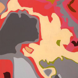 """Emma at Home - Coral Maps 2 Canvas, 10"""" x 10"""" - You'll be enchanted by the play of colors in this painterly abstract print. What a conversation piece this could be when hung in a dining room or entry."""