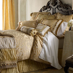 """Dian Austin Couture Home - Dian Austin Couture Home Queen Duvet Cover, 95"""" x 90"""" - La Dolce Vita bed linens feature damask, shirred silk, and gorgeous embellishments, all in a fresh shade of lemon. Made in the USA of imported polyester damask and silk by Dian Austin Couture Home®. Dry clean. Duvet covers are trimmed with cord..."""