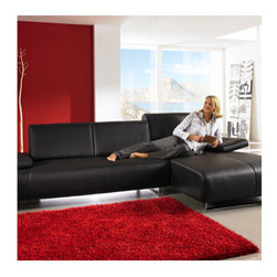 "Whiteline Imports - Emotion Sectional Chaise - Sleek and modern sectional with leather chaise and chrome legs. Features: -Emotion collection. -Chaise is on the right when facing sectional. -Upholstery: Leather. -Frame/leg material: Chrome. -Modern lines. Dimensions: -31"" - 34"" H x 110"" W x 37"" D, 240 lbs."