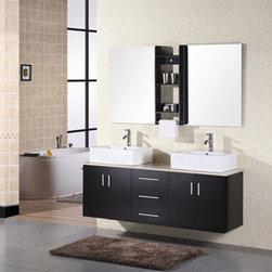 "Design Elements LLC - Bathroom Sink Vanity Set, 36"" Single Drop-in Sink, Waterfall - Faucets not included:"