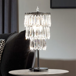 Waterford Crystal - Waterford Crystal Etoile Noveau Table Lamp 156634 - Waterford London Console Table  -  Size: 7.8 inches wide x 22 inches high  -  Billy Canning brings years of experience in the Lighting Industry, including his role as chief designer of Waterford Lighting, to this contemporary lighting collection. Magnificent, multi-tiered sculptures of illumination, Etoile Nouveau lighting showcases layers of shimmering prisms..  -  Don't Buy From An Unauthorized Dealer  -  Genuine Waterford Crystal  -  Fully Authorized U.S. Waterford Crystal Dealer  -  Stamped With The Waterford Seahorse Symbol Of Excellence  -  Waterford Etoile Nouveau Collection  -  Waterford Crystal UPC Number: 024258508606