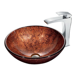 "Vigo - Mahogany Moon Vessel Sink in Copper with Chrome Faucet - The VIGO Mahogany Moon Above the Counter Round Tempered Glass Vessel Sink in Copper adds a rich warmth to your home. Coupled with a chrome faucet, this sink brings a distinguished elegance into your bathroom.; Handmade with possible unique and slight color variations, so no two sinks are identical.; Solid tempered glass construction; Scratch-resistant glass; Non-porous surface prevents discoloration and fading; Stain-resistant, easy-to-clean surface; Polished glass interior with textured exterior; Above-counter installation; 1 3/4"" standard drain opening; VIGO Blackstonian Vessel Faucet features a simple, single lever and comes in a polished chrome finish.; Solid brass construction and chrome finish ensure durability and longer life; Mineral-resistant nozzle is easy to clean; High-quality ceramic disc cartridge ensures maintenance-free use; VIGO finishes resist corrosion and tarnishing, exceeding industry durability standards; Features easy single-hole installation; All mounting hardware and hot/cold waterlines included; Water pressure tested for industry standard; Standard US plumbing 3/8"" connections included; Standard 1 3/8"" diameter opening is required for this faucet; Includes solid brass pop-up drain and solid brass mounting ring, both in matching finish.; Overall height: 11 1/2""; 2.2 GPM flow rate; This VIGO glass vessel bowl is cUPC certified, ANSI certified and ADA compliant; Limited Lifetime Warranty; Dimensions: 24""H x 24""W x 16""D"
