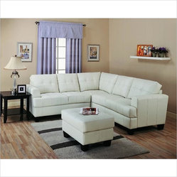 Coaster Samuel Modern Tufted Sectional Sofa in White Cream Finish