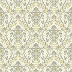 Yellow Highlighted Bedazzled Waverly Small Prints Collection - This pretty eight inch damask design is interrupted by vertical strie that create an ikat appearance while the on trend coloration brings the classic motif into the twenty first century. There are six multi-hued selections including cream, grey and yellow or creamy pearl, aquamarine and kiwi. Potential partners are Glitz or Heartbeat.