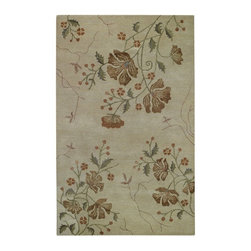 Capel - Contemporary Brock Haven-Orchids 8'x11' Rectangle Cream Area Rug - The Brock Haven-Orchids area rug Collection offers an affordable assortment of Contemporary stylings. Brock Haven-Orchids features a blend of natural Cream color. Hand Tufted of 80% Wool  20% Viscose the Brock Haven-Orchids Collection is an intriguing compliment to any decor.