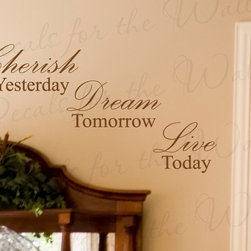 Decals for the Wall - Wall Decal Art Sticker Quote Vinyl Lettering Decorative Letter Cherish Time I33 - This decal says ''Cherish yesterday, Dream tomorrow, Live today''