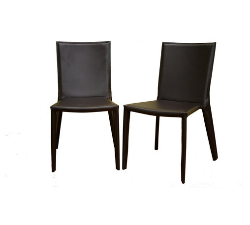 Baxton Studio - Baxton Studio Semele Dark Brown Leather Dining Chair Set of Two - A blank canvas, unadorned and ready for your own personal touch, this chocolate brown bonded leather dining chair does double-duty as an accent chair or contemporary office furniture. Framing underneath the leather is done in sturdy steel, and small black plastic stoppers are attached to the bottom of each leg to help protect your flooring. Brown stitching on the edges of the leather matches the leather itself.