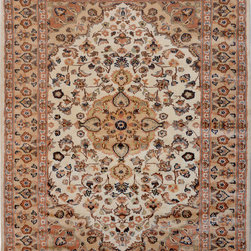 "ALRUG - Handmade Ivory Persian Silk Isfahan Rug 4' x 5' 11"" (ft) - This Pakistani Isfahan design rug is hand-knotted with Silk on Cotton."