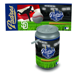 Picnic Time - San Diego Padres Mega Can Cooler - The Extra large Can Cooler by Picnic Time is a hard-sided cooler and large beverage can replica that also doubles as a seat. It holds twenty seven 12-oz. cans and has a 5 gallon capacity. It features a snugly fitting, fully removable lid and folding handle. Perfect for the beach, patio, tailgating, parties, and sporting events. Made of HDPE.; Decoration: Digital Print; Includes: 1 removable lid