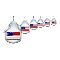 Polymer Products LLC American Flag Six Globe String Light Set - On trend and with a clean, modern look, string lights are an easy way to add flair and fun to your outdoor decor. Light up the outdoors with this weather-resistant Polymer Products LLC American Flag Six Globe String Light Set. It's perfect for decoration or functional lighting. Great for decks, patios, porches, awnings, and recreational vehicles. Includes 20-ft. power cord and hanging hooks for installation. What exactly is polycarbonate lighting? Polycarbonate is resistant to shattering, so it's perfect for outdoor lighting. It's UL/cUL-approved and is a great weather-resistant choice in lighting. Polymer Products proudly make their polycarbonate lighting here in the USA.