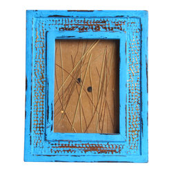 Vintage Maya - Wooden Turquoise Photo Frame - Great photos deserve an equally striking frame. This rustic wooden frame features a brilliant turquoise finish that will showcase your favorite moments in a grand way.