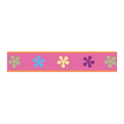 """Sweet Jojo Designs - Groovy Wall Paper Border (15' x 6"""") - How easy is it to get happy? Pretty easy actually. This wall paper border brings a bright, delightful groove to your room with it's whimsical personality and fun flowers. Easy to apply and even easier to enjoy, there has never been a better time to c'mon get happy!"""