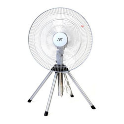 "SPT Appliance - 18 in. Heavy Duty Fan w Adjustable Tripod Bas - 18 in. fan blade. 3 fan speeds. Oscillating or fixed direction. Adjustable height (2.5~3 ft). Patented design. ETL. Input voltage: 110V / 60Hz. Power consumption: 79W. Adjustable height: 2.5 to 3 ft.. 17 in. W x 16.75 in. D. Fan grill diameter: 19.5 in.. 9 lbs.18"" industrial grade, heavy duty fan delivers powerful air circulation. Patented design of 4-legged pedestal provides superb stability, with adjustable height of 2.5 to 3 feet. Features 3 fan speeds, fixed or oscillating head. Easy to assemble, operate and maintain."
