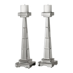 Alanna Mirrored Candleholders, Set of 2