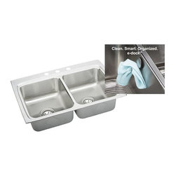 Elkay - Elkay Gourmet LR3322EK4 Double Basin Drop In Kitchen Sink Multicolor - 541303 - Shop for Kitchen from Hayneedle.com! The double basin design of the Elkay Gourmet LR3322EK4 Double Basin Drop In Kitchen Sink is a must-have kitchen appliance for the at-home connoisseur. This sink features 3 pre-drilled fixture holes and is made of thick 18-gauge type 304 nickel-bearing stainless steel in a lustrous satin finish. It has top mount installation and a full undercoating to prevent condensation and reduce noise cause by dishes or running water. E-Dock hook included.About Elkay Elkay sinks faucets and accessories are the American standard. Elky has been family owned since 1920. What started as a father and son sink manufacturing company on the north side of Chicago has grown to become an international company and America s number one selling stainless steel sinks company as well as a name well-known for top-quality faucets water coolers and drinking fountains. Elkay is the professional s choice.
