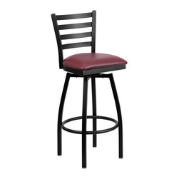 Flash Furniture - Flash Furniture Restaurant Seating Metal Restaurant Barstools - This stylish swivel bar stool will compliment any Home, Restaurant, Lounge or Bar. The 360 degree swivel seat allows you to swing around effortlessly. The comfortably padded seat will keep you and your guests comfortable and is easy to clean. The heavy duty frame makes this stool perfect for commercial or home usage. This attractive stool will add to your casual or elegant setting. [XU-6F8B-LADSWVL-BURV-GG]