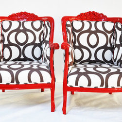 Red Armchairs with Cotton Geometric by Name Design Studio - These make a lovely marriage of color and pattern. These striking chairs are sure to be conversation starters.