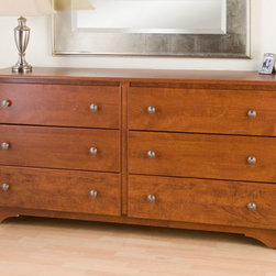 None - Chelsea Cherry 6-drawer Dresser - Get your clothes out of cramped quarters and into the Chelsea 6 Drawer Dresser. Its 6 drawers will accommodate your growing wardrobe,and the scalloped kick plate will satisfy your craving for a hint of flair.
