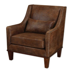 """Uttermost - Uttermost Clay Armchair in Natural - Relax in this chair featuring velvety soft fabric that captures the look of natural tanned leather. Antiqued brass nail heads accent the frame along with weathered hickory stained legs and base. Pillow included. Seat height is 19""""."""