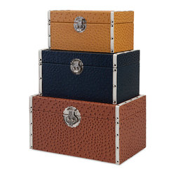iMax - Clark Trunks, Set of 3 - No need to stick your head in the sand: Solve storage needs beautifully with a trio of leather-look trunks in rich neutral colors set apart with an embossed ostrich pattern and silver metal hardware with old world flair.