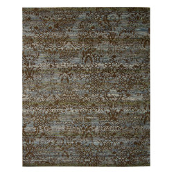 """Nourison - Nourison Rhapsody RH009 (Blue, Moss) 5'6"""" x 8' Rug - The Rhapsody collection is a modern mix of European and Persian textile traditions in lively, sophisticated patterns and colors."""