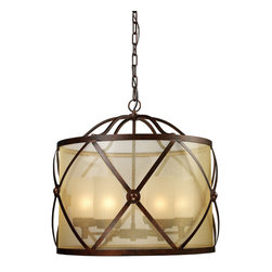Elk - Cumberland 6-Light Chandelier in Classic Bronze - This drum shaped Cumberland chandelier is a beautiful piece of rustic home decor. A wonderful addition to any indoor or outdoor dining, this 6 bulb light is reminiscent of a lantern in all the best ways. With its outer criss cross iron design, inner frosted blown glass shade and classic bronze finish, this piece is sure to be the perfect chandelier to fit your unique, stylish home.