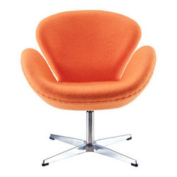 """LexMod - Wing Lounge Chair in Orange - Wing Lounge Chair in Orange - Perhaps no chair is more synonymous with organic design than the Wing chair. First intended as an outstretched reception chair, the piece is expansive like the wings of its namesake. While organic living promotes the harmonious balance between human habitation and the natural world, achieving proper balance is a challenge. It is often left to the designers, those creative leaders of the generation, to guide the way. While the padded fiberglass shell is upholstered in a layer of fabric, the admiration for this piece comes from a much deeper source. First developed in the mid-20th century, the Wing chair is a testament to the potential inherent in human endeavor. While the chair rests firmly on a sturdy polished aluminum frame, its the abandonment from the particulars of engineering and industry that make it so endearing. Set Includes: One - Wing Chair Upholstered in Wool, Aluminum Rotating Base, High Density Foam Cushions, Re-enforced Fiberglass Frame Overall Product Dimensions: 26""""L x 28""""W x 29""""H Seat Dimensions: 18.5""""L x 15""""W x 16.5""""HBACKrest Dimensions: 18""""H Armrest Height: 23""""H - Mid Century Modern Furniture."""