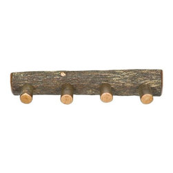 Fireside Lodge Furniture - Hickory 24 in. Wall Coat Rack w 4 Pegs - Hickory Collection. 4 Pegs. All Hickory Logs are bark on and kiln dried to a specific moisture content. Clear coat catalyzed lacquer finish for extra durability. 2-Year limited warranty. Peg Length: 2.5 in.. 24 in. W x 5 in. D x 4 in. H (4 lbs.)