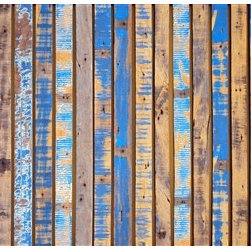 106.3 - Azure Joists Mural Wallpaper M8989 - Azure joists is a wood plank pattern with a blue sanded paint overlay. This digital mural brings you the excitement of vibrant blue paired with the natural look of wood for an unconventional beach aesthetic. Use it in a bedroom or dining room to create a statement.
