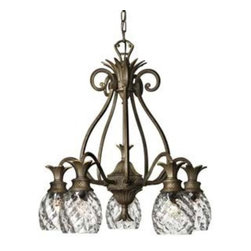 "Hinkley - Hinkley-4885PZ-Plantation Chandelier - 6""D Canopy  Pearl Bronze Finish - Clear Optic Glass  Lamp Quantity: 5  Lamp Type: A19 Medium Base  Wattage: 60  Voltage: 120  UL Certified  Wire Length: 72  Chain Length: 60  Material: Cast Aluminum"