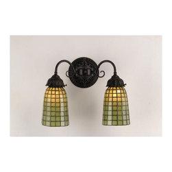 Meyda Tiffany - 14.5-Inch Geometric Green Two-Light Wall Sconce - 14.5-Inch Geometric Green Two-Light Wall Sconce Meyda Tiffany - 74056