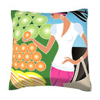 Custom Photo Factory - Woman Shopping for Fruit Pillow.  Polyester Velour Throw Pillow - Woman Shopping for Fruit Pillow. 18 Inches x 18  Inches.  Made in Los Angeles, CA, Set includes: One (1) pillow. Pattern: Full color dye sublimation art print. Cover closure: Concealed zipper. Cover materials: 100-percent polyester velour. Fill materials: Non-allergenic 100-percent polyester. Pillow shape: Square. Dimensions: 18.45 inches wide x 18.45 inches long. Care instructions: Machine washable