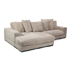 Moe's Home Collection - Plunge Modular Sectional, Cappuccino - Take a plunge into this sectional and you may never get up! This piece can be left or right side facing. Features: -Material: 100% Polyester corduroy.-Reversible.-Hard wood frame.-Slide the ottoman over and flip the L shaped cushion.-Dual configuration.-Distressed: No.Dimensions: -Seater dimensions: 34'' H x 46'' W x 53' D.-Chaise dimensions: 34'' H x 70'' W x 53' D.-Plunge sectional sofa dimensions: 16.5'' H x 106.3'' W.-Overall dimensions: Back to front: 5 ft 9.7'' - 16.5'' H X 8 ft 10.3'' W.-Overall Product Weight: 198.5 lbs.