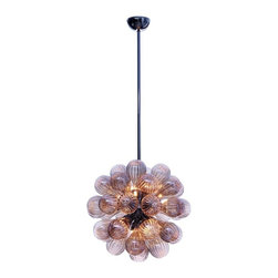 Viz Glass, Inc. - Globa Chandelier - Create a sleek, bold look in your home using the Globa Chandelier. This eye-catching piece is handblown from Italian Glass and features a round cluster of champagne-colored glass bulbs with a subtle pleated texture. Variations may occur in individual pieces. Maximum height is 73 inches. Includes 12 25 watt G9 bulbs and adjustable rods. UL listed. Hardwire; professional installation recommended.