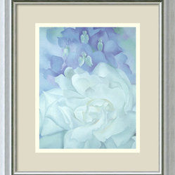 """White Rose with Larkspur No.2"" Framed Print by Georgia O"