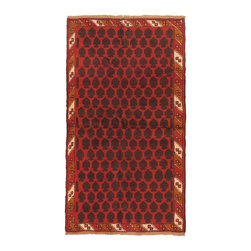 "Torabi Rugs - Hand-knotted Herati Red Wool Rug 3'4"" x 6'0"" - Herati rugs are primarily handwoven by nomadic tribal weavers in northwest Afghanistan. They are hand-knotted from handspun wool and have a very stylized floral and all-over pattern, borrowing largely from Baluch and Tajik tribal influences. These rugs are very durable and mostly come in smaller sizes."