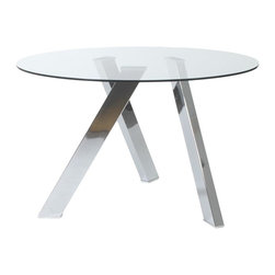 ItalModern - Round Dining Table - Includes table top, base and hardware. 0.47 in. thick tempered clear glass. Polished stainless steel legs. Polished pencil edge on top. Modern design. Warranty: One year. Overall: 48 in. Dia. x 30 in. H. Assembly Instructions