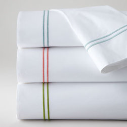 """SFERRA - SFERRA Twin Satin-Stitched Flat Sheet - A sharp and modern bedding ensemble just right for any room. Sferra takes smooth white Egyptian cotton percale and adds a 2"""" wide Egyptian cotton sateen band in your choice of colors. Duvet covers have the band on three sides; shams have the band on a..."""