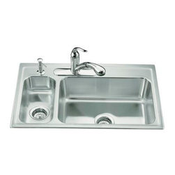 KOHLER - KOHLER K-3347L-3-NA Toccata High/Low Self-Rimming Kitchen Sink - KOHLER K-3347L-3-NA Toccata High/Low Self-Rimming Kitchen Sink with Faucet on Left-Hand and Three-Hole Faucet Punching